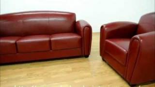 Wholesale Interiors Red Leather Sofa And Chair