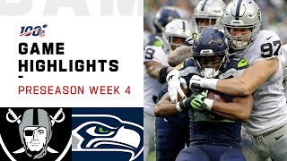Raiders vs. Seahawks Preseason Week 4 Highlights | NFL 2019