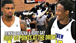 DeMar DeRozan & Rudy Gay TEAM UP & Drop 60 POINTS At The Drew League!! DeMar All Smiles!