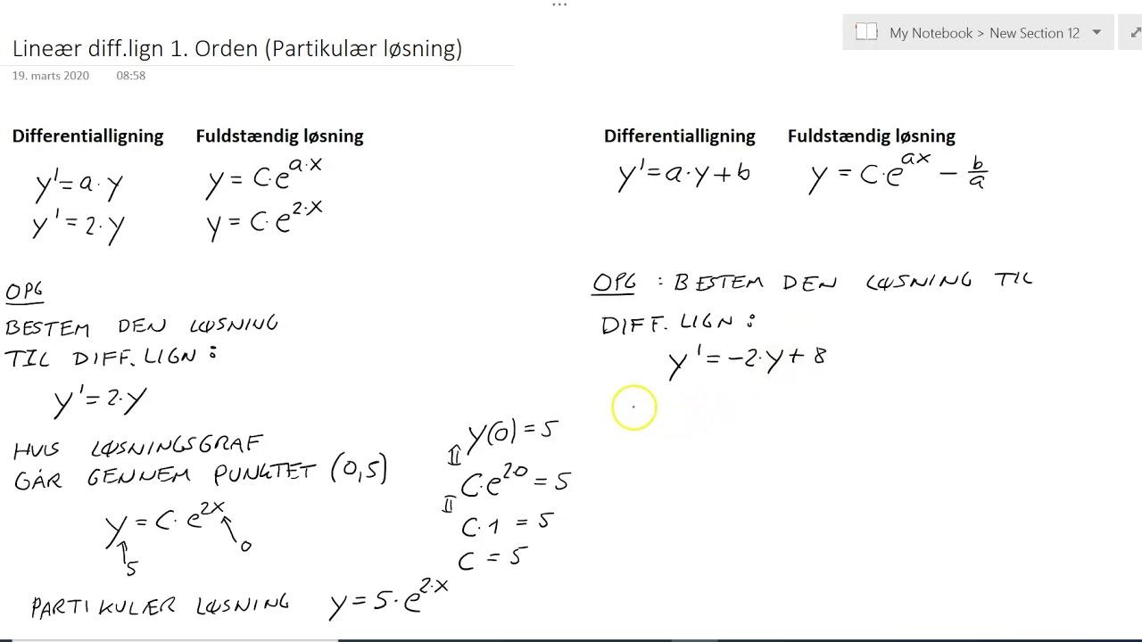 Differentialligning Lineær Partikulær Løsning Eksempler