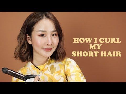 How I curl my hair สอนม้วนผมสั้นสไตล์ เกาๆ ง่ายๆด้วยตัวเอง (engsub)✨  Brinkkty