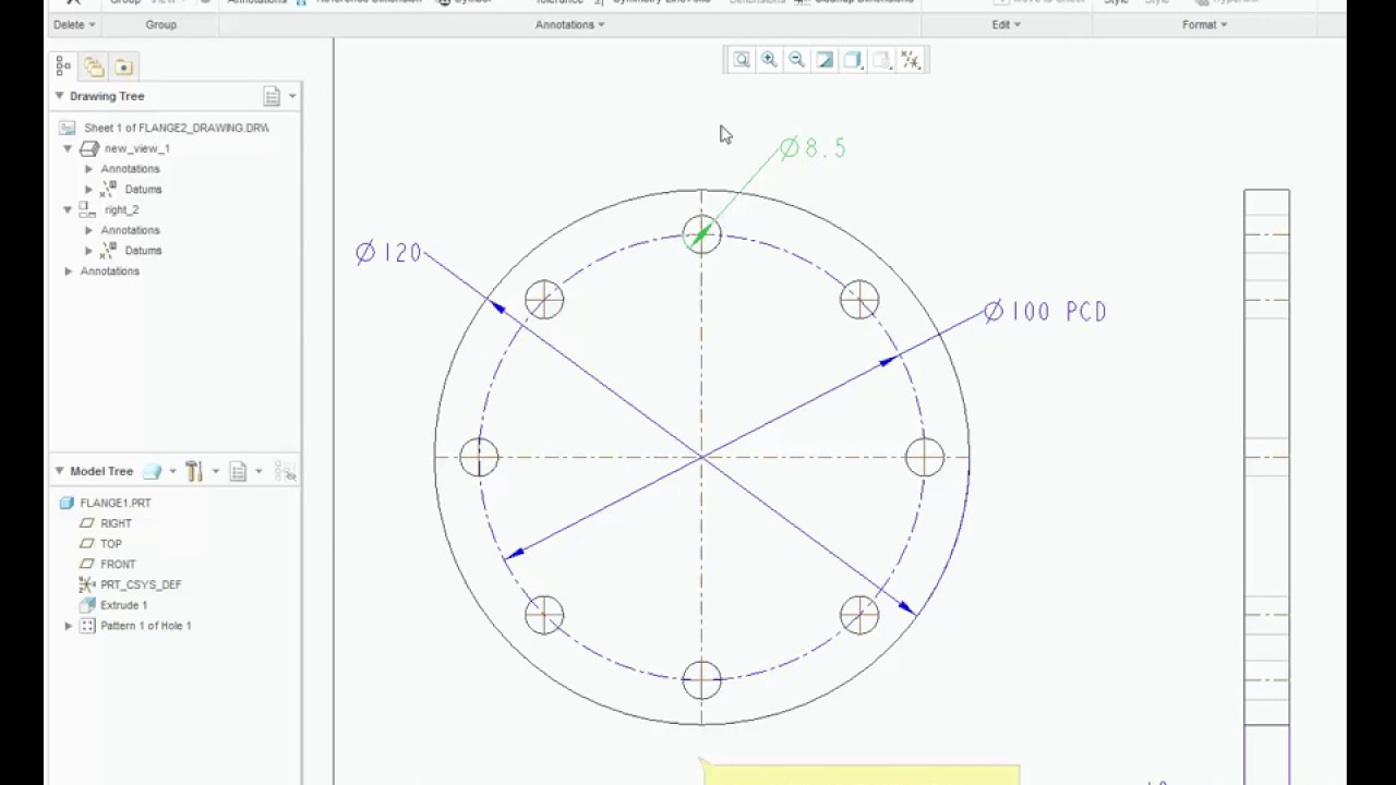 How to draw PCD in Creo Drawing/ Drafting - YouTube