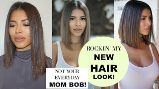 NEW HAIRCUT!!   NOT YOUR EVERYDAY MOM BOB!   Easy & Stylish Mom Haircut