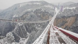 Zhangjiajie Grand Canyon Glass Bridge Construction张家界大峡谷玻璃桥建设