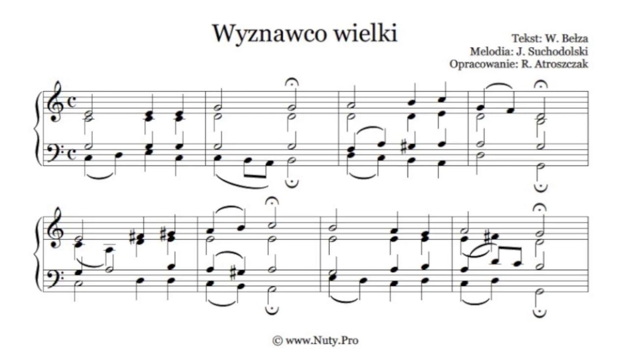 Tylko na zewnątrz Wyznawco wielki - nuty i tekst pdf na organy lub pianino - www IR49
