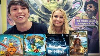 PEGASUS NEUHEITEN 2018 - Spirit Island, Men at Work, Detective, Adventure Island, Azul 2.