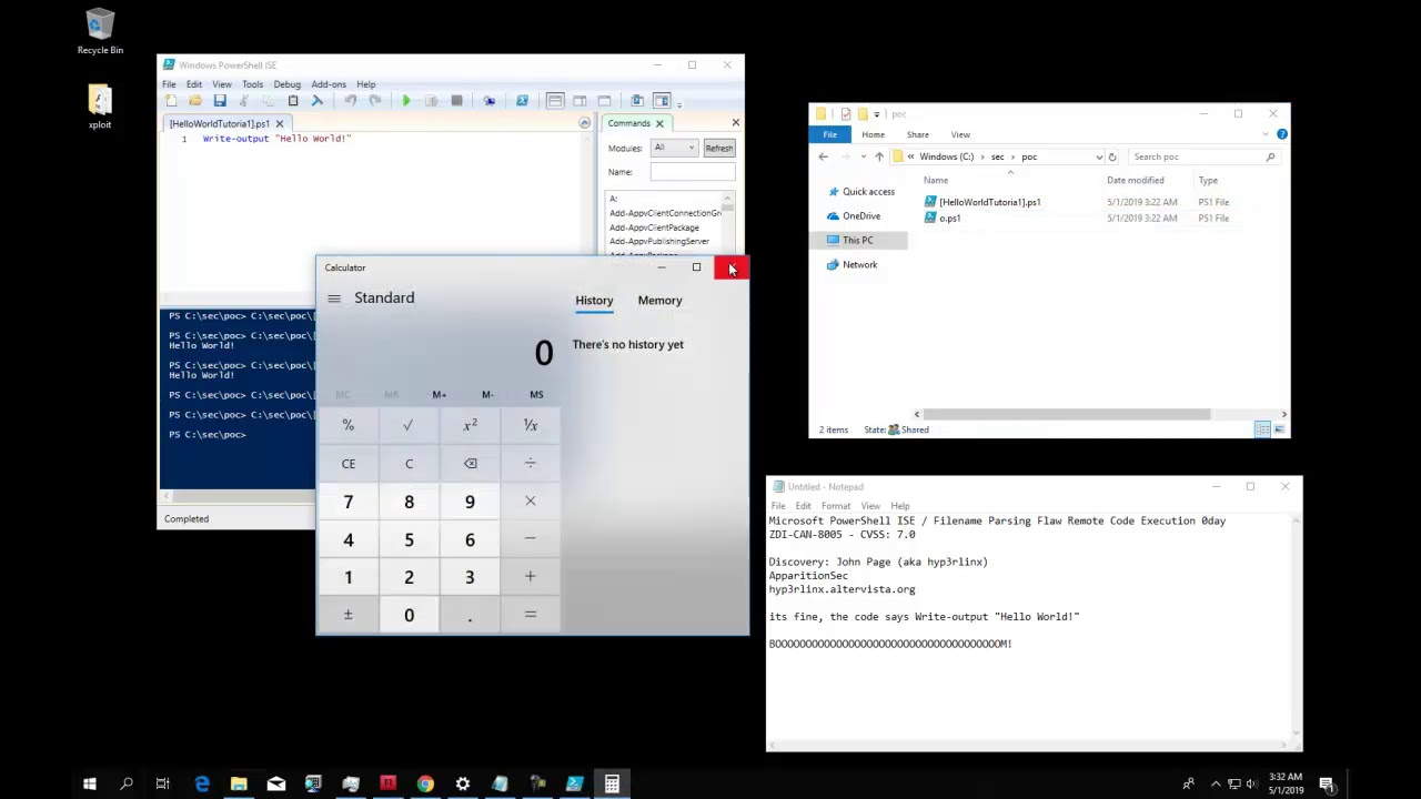 PowerShell ISE Vulnerability Remote Code Execution 0day