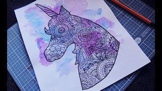 Speed Drawing: UNICORN MANDALA / unicornio Zentangle art -ZentanglePink