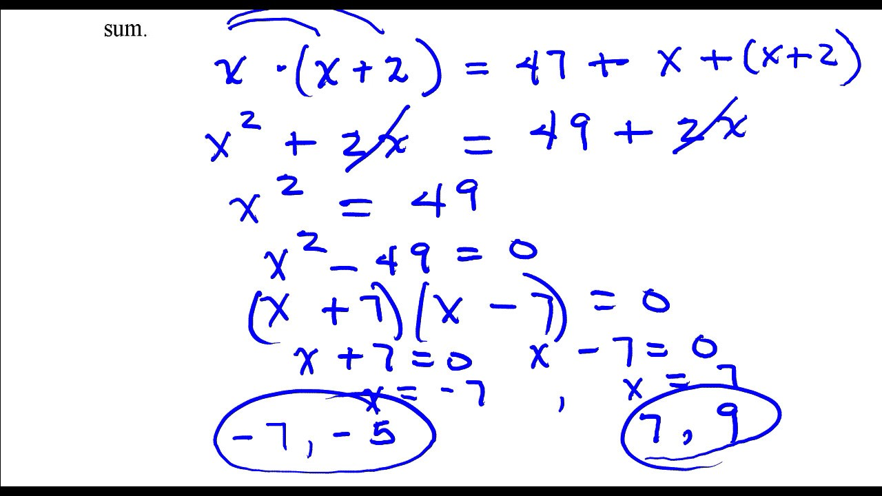 Find two consecutive odd integers whose product is 47 more than ...