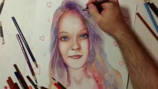 Drawing Portrait of Beautiful Girl Timelapse - Портрет девушки акварелью и цветными карандашами