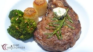 Ribeye Steak Served With Fondant Potatoes  And Spicy Brocco