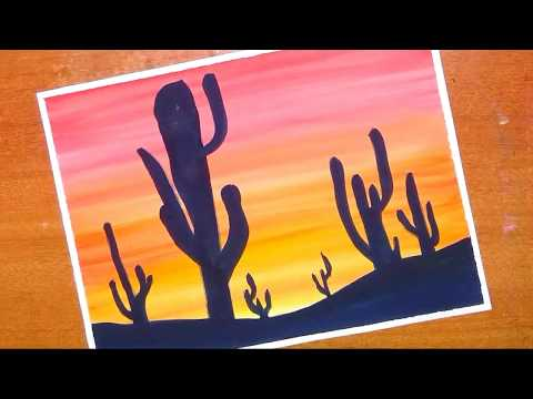 How to paint easy and simple cactus plants | desert sunset scenery painting with watercolor…