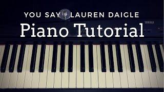 You Say - Lauren Daigle (Piano Tutorial)|| Faith Rose