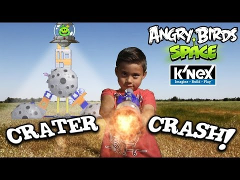 Angry Birds Space K'Nex CRATER CRASH Adventure With Special Effects!!!