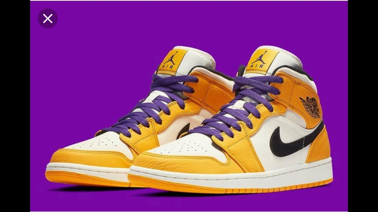 "1974115b8025bf Air Jordan 1 Mid SE ""Lakers"" Sneaker Review - YouTube"