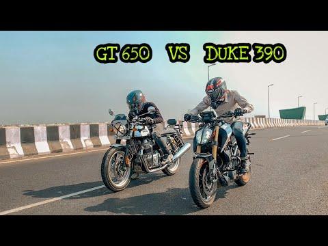 DUKE 390 bs6 vs CONTINENTAL GT 650 TWIN | Drag Race