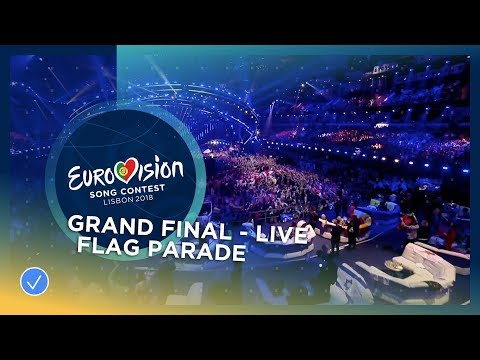 The flag parade with the Beatbombers at the Grand Final of the 2018 Eurovision Song Contest