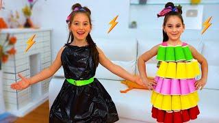 Аня и папа делают сами платья для дискотеки