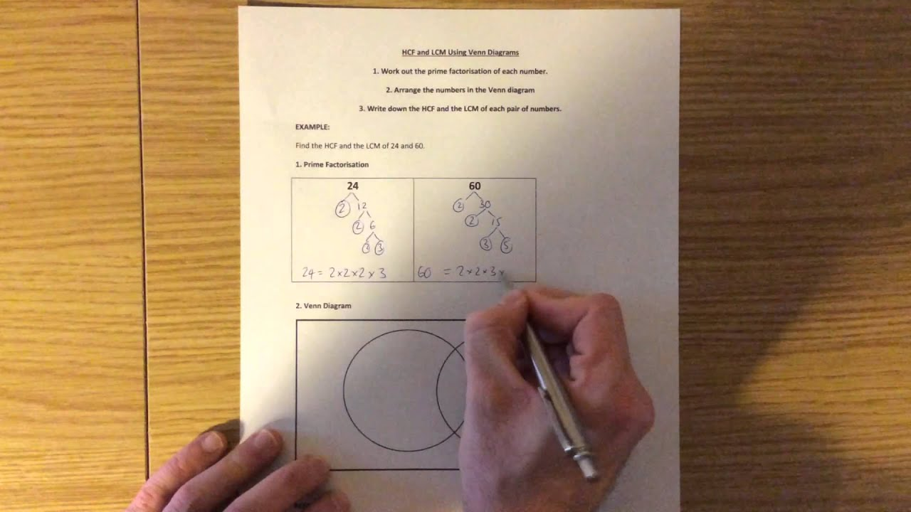 hcf and lcm using venn diagrams ac outlet wiring diagram with youtube