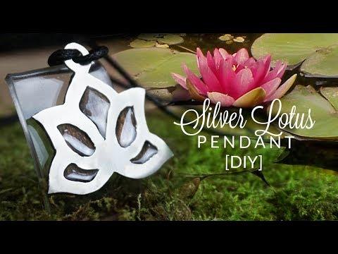 LOTUS silver + resin + wood  pendant diy