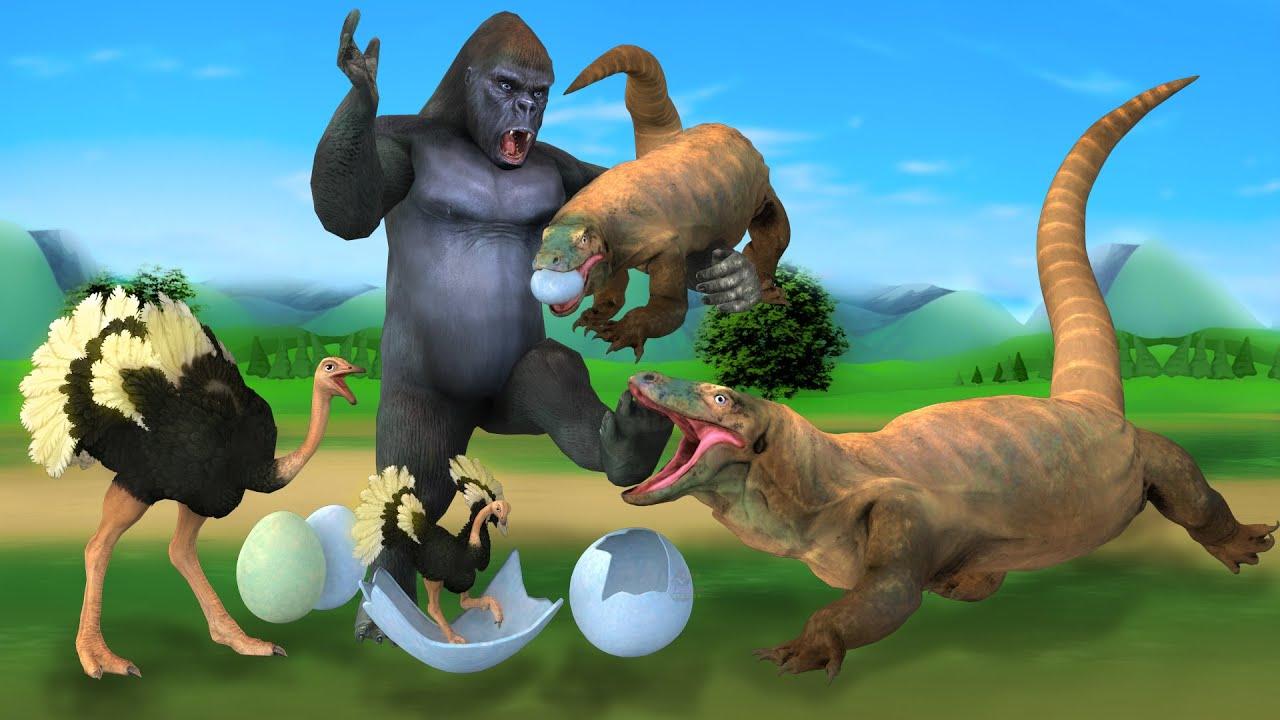 शुतुरमुर्ग अंडा विशाल गोरिल्ला और बड़ी छिपकली Komodo Vs Giant Gorilla Save Ostrich Egg Hindi Kahani