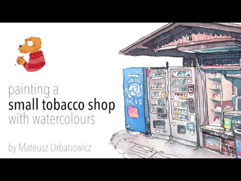 REAL TIME small tobacco shop in watercolours
