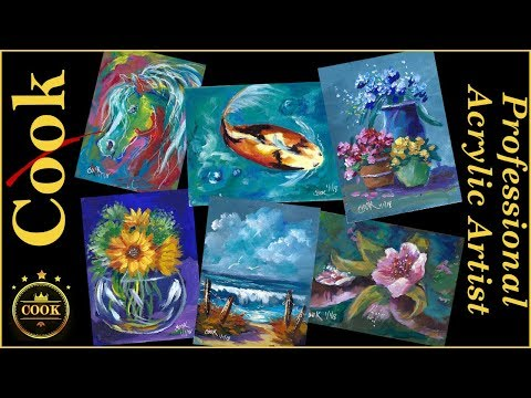 Ten Minute Acrylic  Six Paintings  Challenge with Ginger Cook