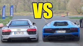 AUDI R8 V10 PLUS vs LAMBORGHINI AVENTADOR 🔥**DRAG RACE**🚀