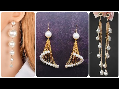 Top Trendy 2019-20 Light Weight Gold And Pearl Earring Design |Drop Earrings