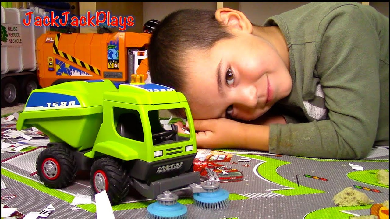 Toy Trucks For Kids Unboxing Playmobil Street Sweeper
