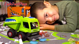 Toy Trucks for Kids: UNBOXING Playmobil Street Sweeper + Playing
