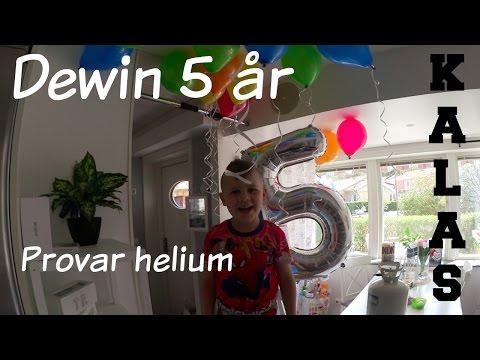 Testar helium - Dewin fyller 5 år