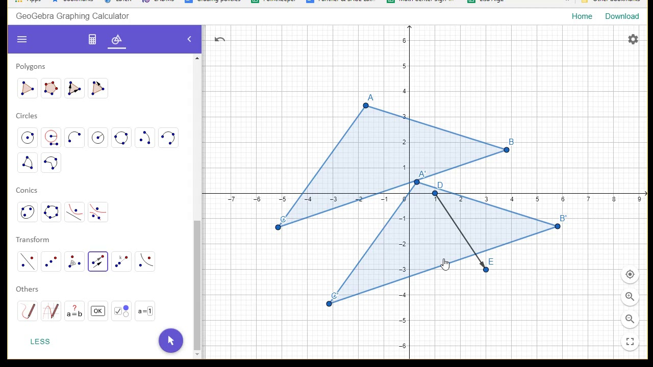 Translating a polygon using a vector with Geogebra