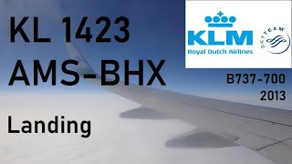 KLM Boeing 737-700 landing at Birmingham Airport (UK)