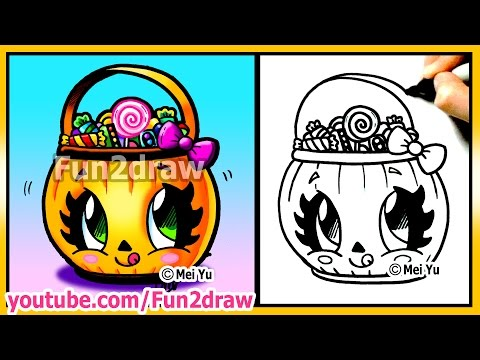 Cute Candy Bucket  - How to Draw Halloween Easy Stuff Pictures - Pumpkin Best Fun2draw Drawings