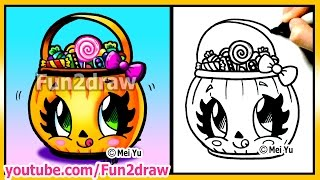 cute candy bucket how to draw hall - Easy Halloween Pictures To Draw