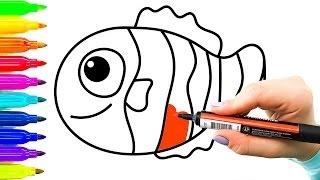 Clown peixes exemplo simples desenho para crianças | Colorir vídeos para crianças