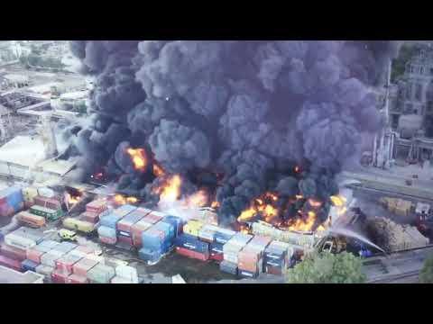imágenes aéreas de la explosión en Indorama