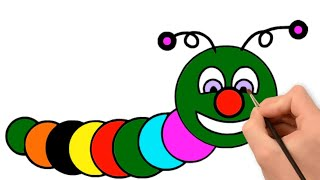 worm drawing and coloring pages for kids