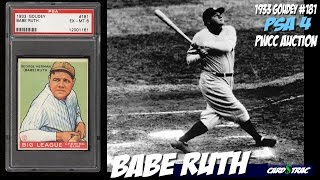 1933 Babe Ruth rookie card for sale; graded PSA 4. 1933 Babe Ruth rookie card Goudey #181