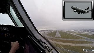 Turbulent Bad Weather Landing - MD11 Cockpit View