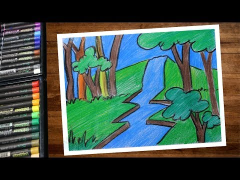 Landscape Waterfall Scenery Drawing With Color Pencils Step By Step