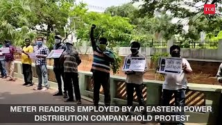 Visakhapatnam: APEPDCL meter readers protest over salary delay, demand masks for safety