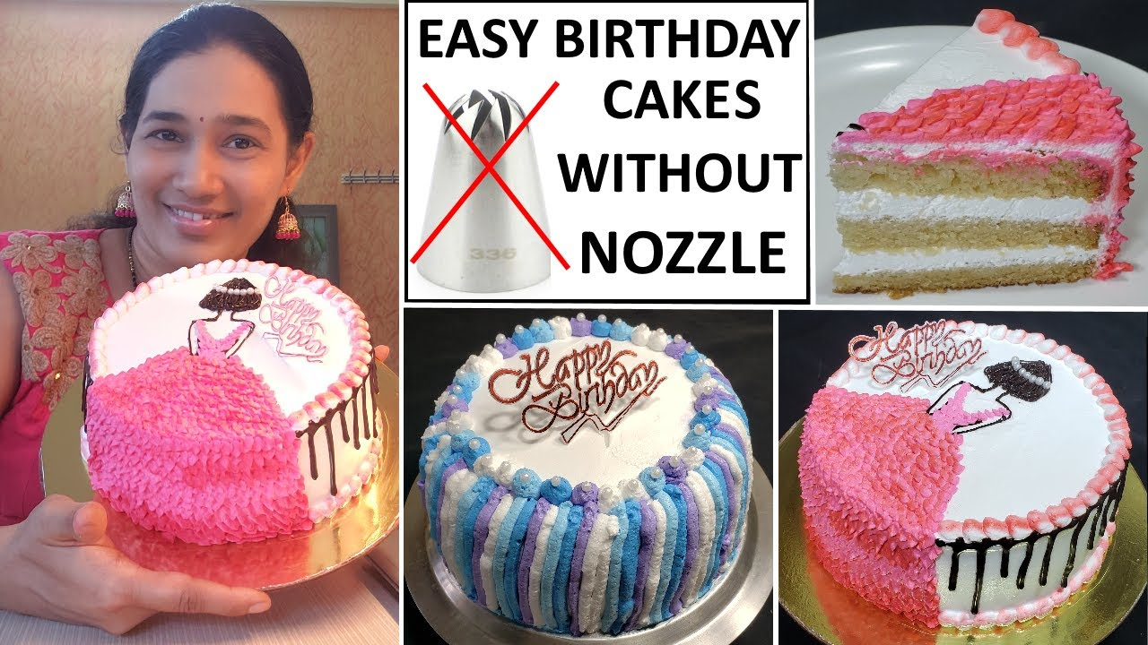 2 Easy Birthday Cake Decoration ideas without nozzle | Easy Doll cake decoration without nozzle