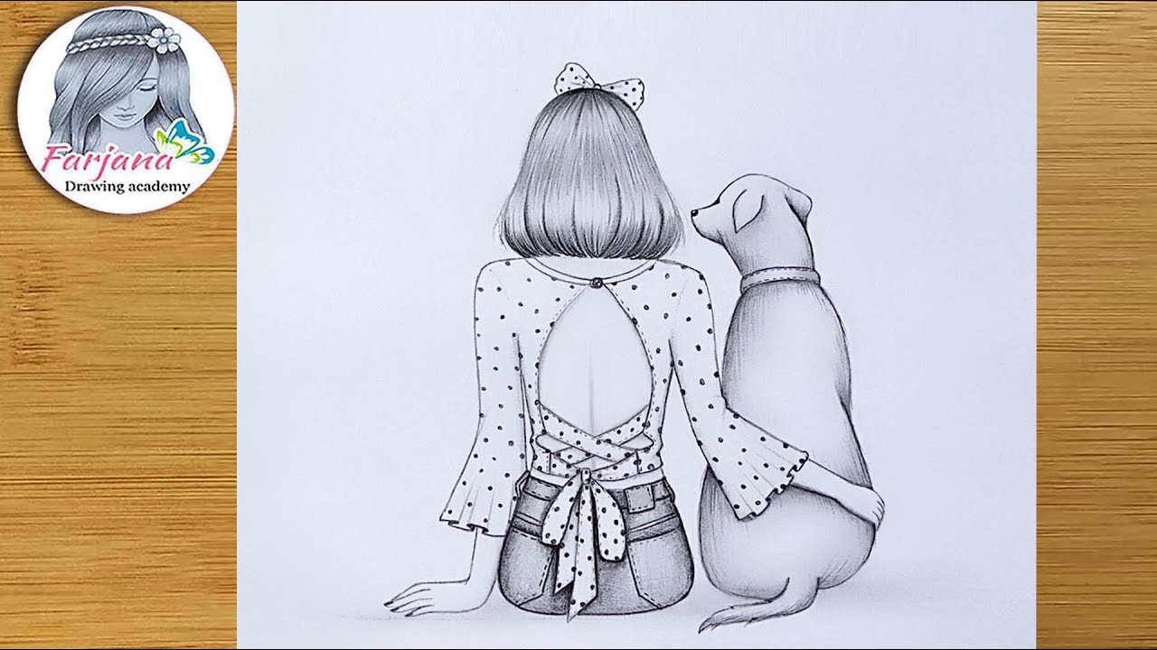 A girl is sitting with her dog || Pencil Sketch Drawing for beginners || How to draw - Step by step