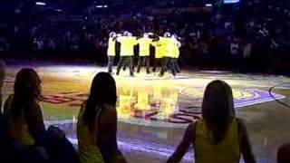 Jabbawockeez Spurs @ Lakers West Finals Halftime Courtside