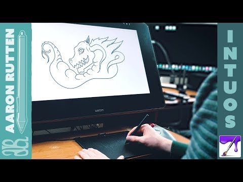 New WACOM INTUOS 2018 - Line Art Doodle Demo with Corel Painter Essentials 6