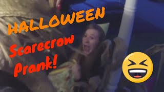 Halloween  Scarecrow Scare Prank on Trick or Treaters
