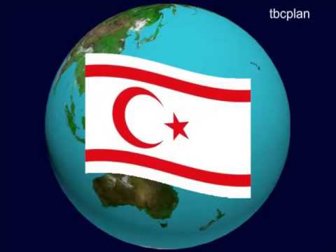 Turkish Republic of Northern Cyprus Flag on the Earth