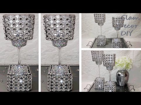 Dollar Tree DIY Glam Bling Tall Candle Holder Duo